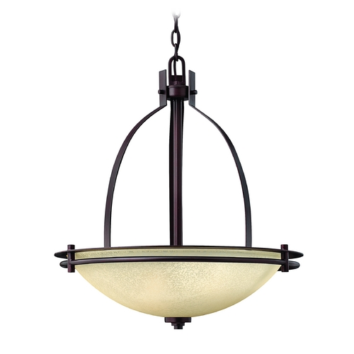 Hinkley Lighting Pendant Light with Beige / Cream Glass in Metro Copper Finish 4724MC