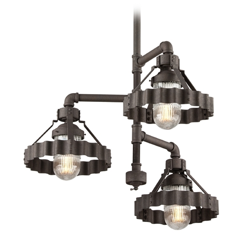 Troy Lighting Troy Lighting Canary Wharf Burnt Siena Pendant Light with Fluted Shade F4246