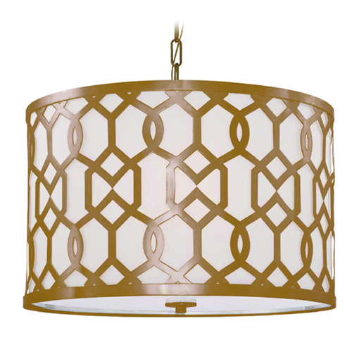 Crystorama Lighting Crystorama Lighting Jennings Aged Brass Pendant Light with Drum Shade 2266-AG