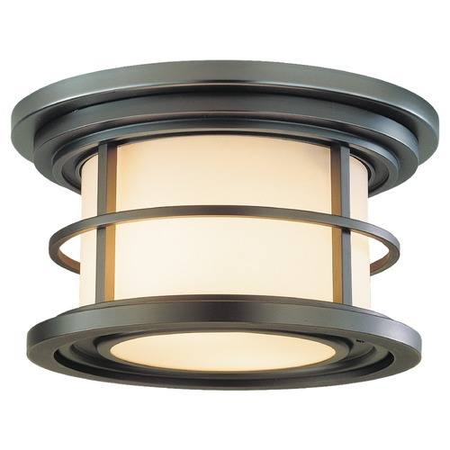 Feiss Lighting Outdoor Ceiling Light with White Glass in Burnished Bronze Finish OL2213BB