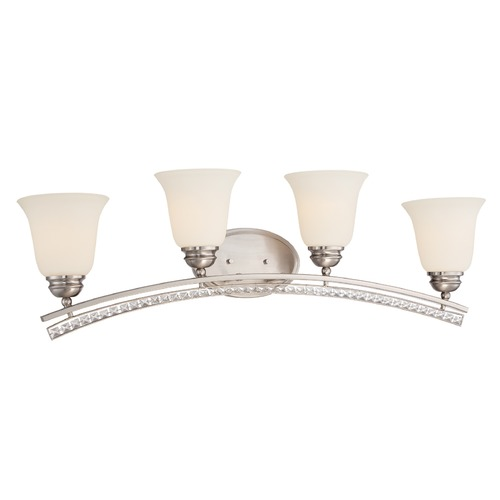 Designers Fountain Lighting Designers Fountain Grand Plazza Satin Platinum Bathroom Light 85704-SP