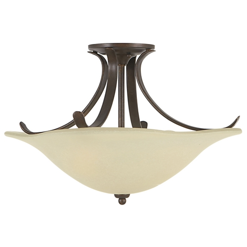 Home Solutions by Feiss Lighting Semi-Flushmount Light with White Glass in Grecian Bronze Finish SF214GBZ