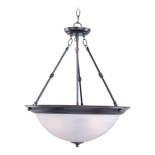 Maxim Lighting Pendant Light with White Glass in Oil Rubbed Bronze Finish 5846MROI
