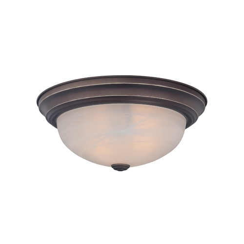 Quoizel Lighting Flushmount Light with White Glass in Palladian Bronze Finish MNR1615PN