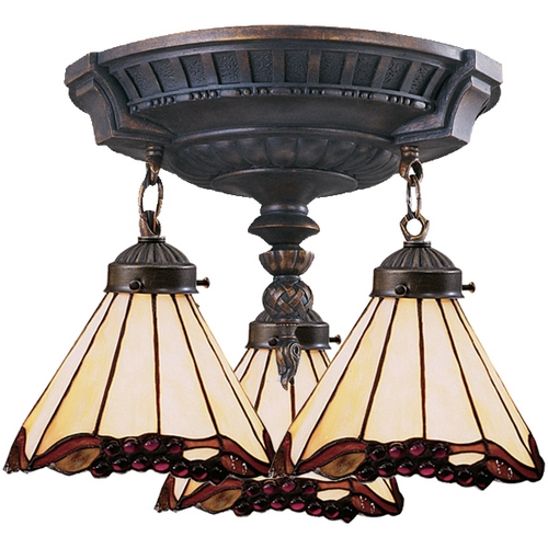 Elk Lighting Semi-Flushmount Light with Tiffany Glass in Aged Walnut Finish 997-AW-03