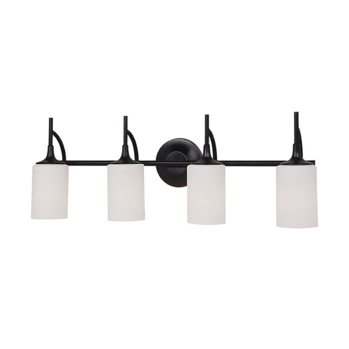 Sea Gull Lighting Modern Bathroom Light with White Glass in Burnt Sienna Finish 44955-710