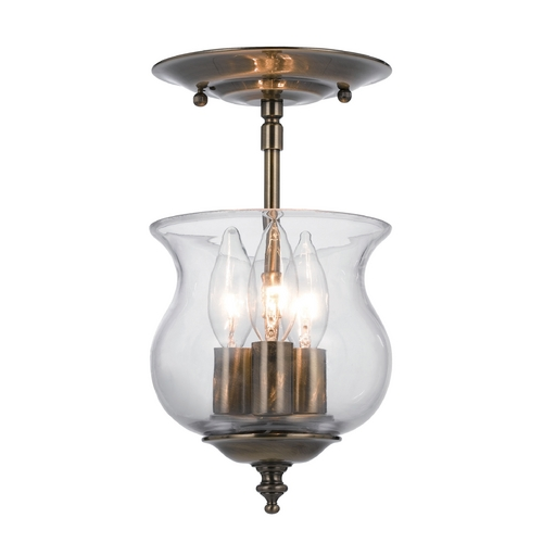 Crystorama Lighting Semi-Flushmount Light with Clear Glass in Antique Brass Finish 5715-AB