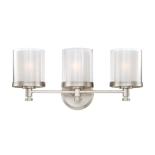 Nuvo Lighting Modern Bathroom Light with White Glass in Brushed Nickel Finish 60/4643