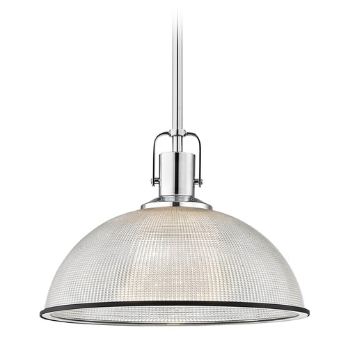 Design Classics Lighting Farmhouse Prismatic Pendant Light Chrome / Black 13.13-Inch Wide 1762-26 G1780-FC R1780-07