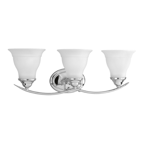 Progress Lighting Progress Bathroom Light with White Glass in Chrome Finish P3192-15