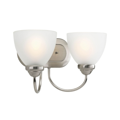 Progress Lighting Progress Bathroom Light with White Glass in Brushed Nickel Finish P2915-09