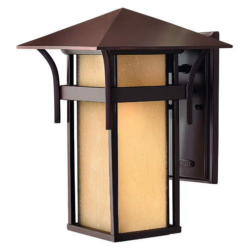 Hinkley Etched Amber Seeded Glass LED Outdoor Wall Light Bronze Hinkley 2574AR-LED