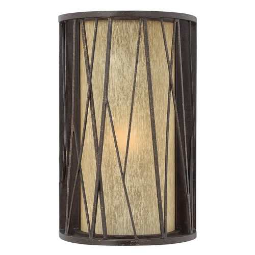 Hinkley Lighting Outdoor Wall Light with Amber Glass in Regency Bronze Finish 1154RB-GU24