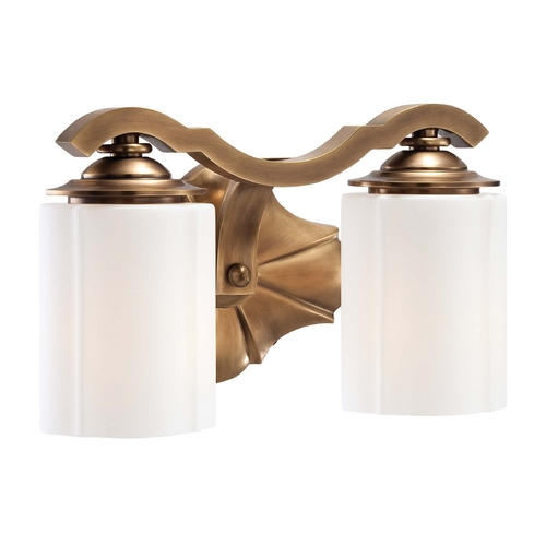 Metropolitan Lighting Bathroom Light with White Glass in Aged Brass Finish N2942-575