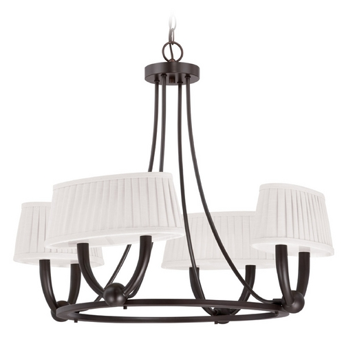 Nuvo Lighting LED Chandelier with White Shades in Copper Espresso Finish 62/198