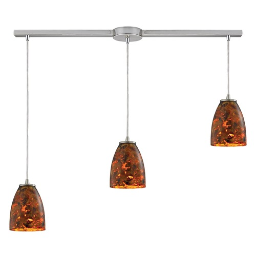 Elk Lighting Elk Lighting Abstractions Satin Nickel Multi-Light Pendant with Bowl / Dome Shade 10460/3L-LS