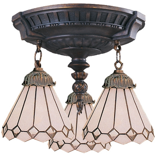Elk Lighting Semi-Flushmount Light with Tiffany Glass in Aged Walnut Finish 997-AW-04