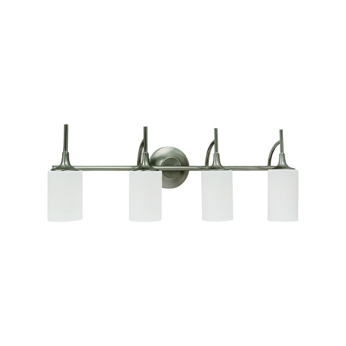 Sea Gull Lighting Modern Bathroom Light with White Glass in Brushed Nickel Finish 44955-962