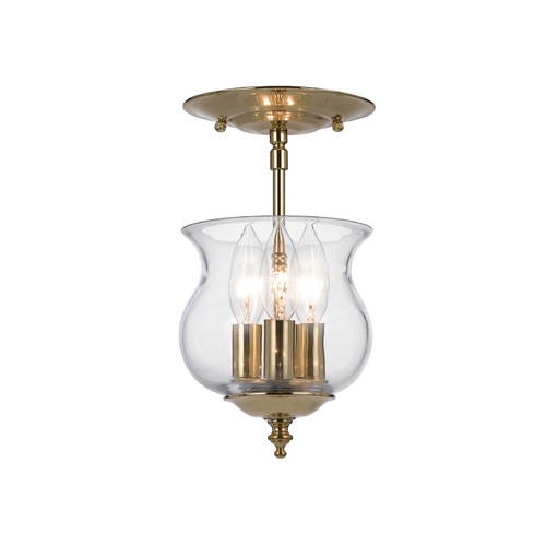 Crystorama Lighting Semi-Flushmount Light with Clear Glass in Polished Brass Finish 5715-PB