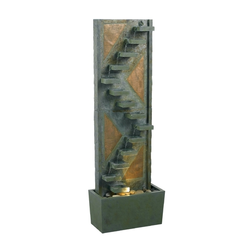 Kenroy Home Lighting Fountain in Natural Green Slate with Natural Copper Accents Finish 53205SLCP