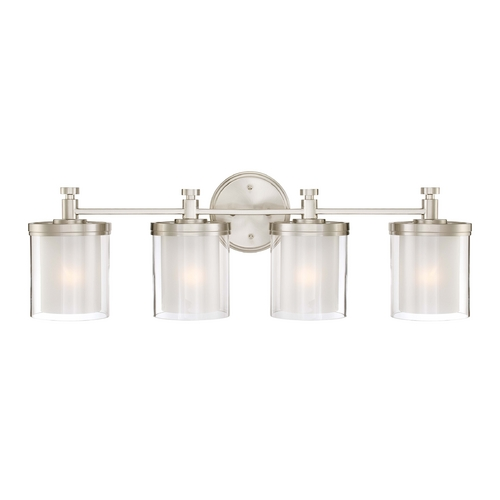 Nuvo Lighting Modern Bathroom Light with White Glass in Brushed Nickel Finish 60/4644
