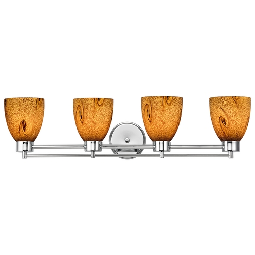 Design Classics Lighting Modern Bathroom Light with Brown Art Glass - Four Lights 704-26 GL1001MB