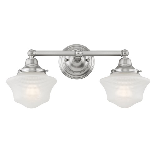 Design Classics Lighting Prismatic Glass Schoolhouse Bathroom Light Satin Nickel 2 Light 17 Inch Length WC2-09 GC6-FF