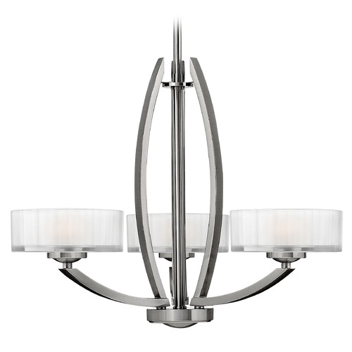 Hinkley Lighting Chandelier with White Glass in Brushed Nickel Finish 3873BN