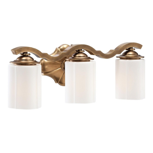 Metropolitan Lighting Bathroom Light with White Glass in Aged Brass Finish N2943-575