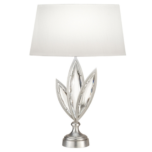 Fine Art Lamps Fine Art Lamps Marquise Platinized Silver Leaf Table Lamp with Oval Shade 849810-12ST