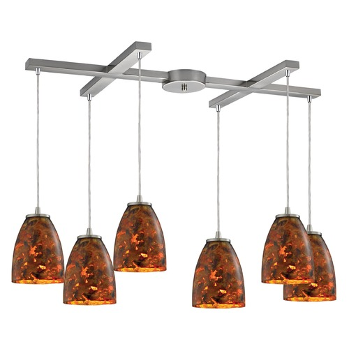 Elk Lighting Elk Lighting Abstractions Satin Nickel Multi-Light Pendant with Bowl / Dome Shade 10460/6LS