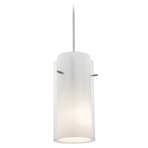 Access Lighting Access Lighting Glass`n Glass Cylinder Brushed Steel LED Mini-Pendant Light with Cylindrical Shade 28033-3C-BS/CLOP