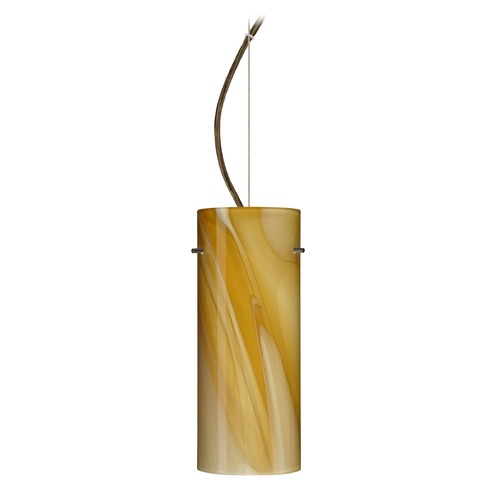 Besa Lighting Besa Lighting Stilo Bronze LED Pendant Light with Cylindrical Shade 1KX-4123HN-LED-BR