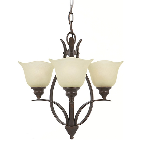 Home Solutions by Feiss Lighting Mini-Chandelier with Beige / Cream Glass in Grecian Bronze Finish F2047/3GBZ
