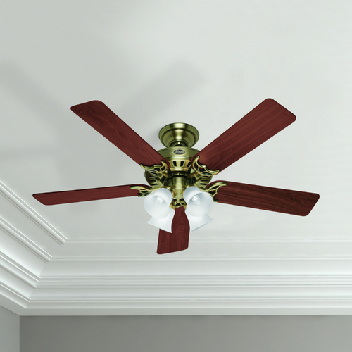 Hunter Fan Company Hunter Fan Company Studio Series Antique Brass Ceiling Fan with Light 53063