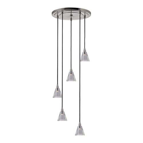 Hudson Valley Lighting Naples Satin Nickel Multi-Light Pendant with Cylindrical Shade 3615-SN-B-003