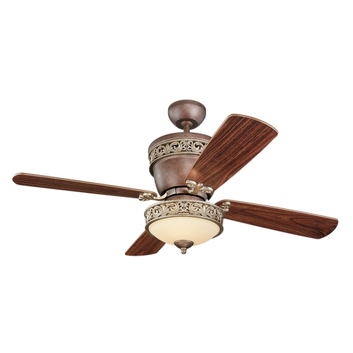 Monte Carlo Fans Ceiling Fan with Light with White Glass in Tuscan Bronze / Tea Stain Mission Finish 4VG42/28TBD-L