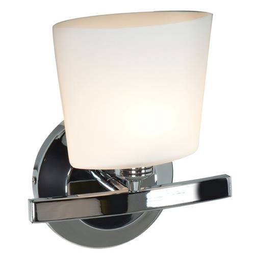 Access Lighting Modern Sconce Light with White Glass in Chrome Finish 63811-20-CH/OPL