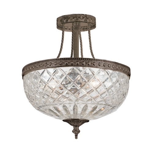 Crystorama Lighting Semi-Flushmount Light with Clear Glass in English Bronze Finish 118-12-EB