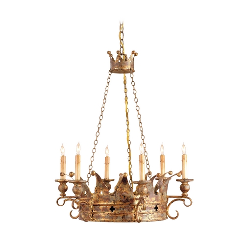 Currey and Company Lighting Chandelier in Viridian Gold Finish 9547