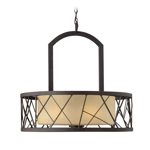 Frederick Ramond Drum Pendant Light with Amber Glass in Oil Rubbed Bronze Finish FR41613ORB