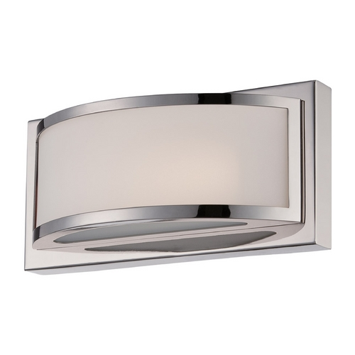 Nuvo Lighting Modern LED Sconce Wall Light with White Glass in Polished Nickel Finish 62/311