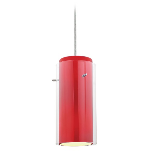 Access Lighting Access Lighting Glass`n Glass Cylinder Brushed Steel LED Mini-Pendant Light with Cylindrical Shade 28033-3C-BS/CLRD