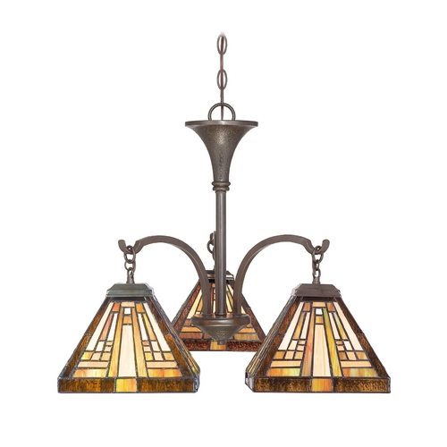 Quoizel Lighting Chandelier with Art Glass in Vintage Bronze Finish TFST5103VB