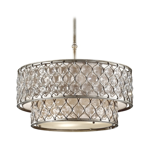 Feiss Lighting Drum Pendant Lights in Burnished Silver Finish F2707/6BUS