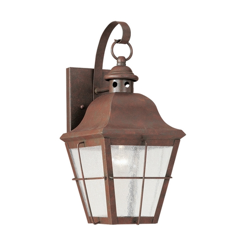 Sea Gull Lighting Outdoor Wall Light with Clear Glass in Weathered Copper Finish 8462-44