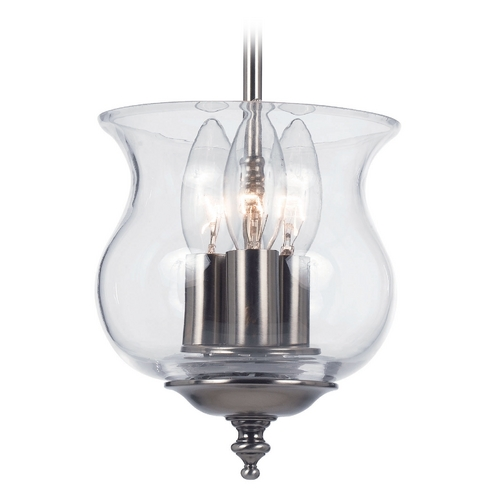 Crystorama Lighting Semi-Flushmount Light with Clear Glass in Pewter Finish 5715-PW