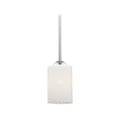 Design Classics Lighting Chrome Mini-Pendant Light with White Art Glass Shade 581-26 GL1020C