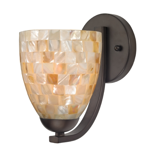 Design Classics Lighting Sconce with Mosaic Glass in Bronze Finish 585-220 GL1026MB