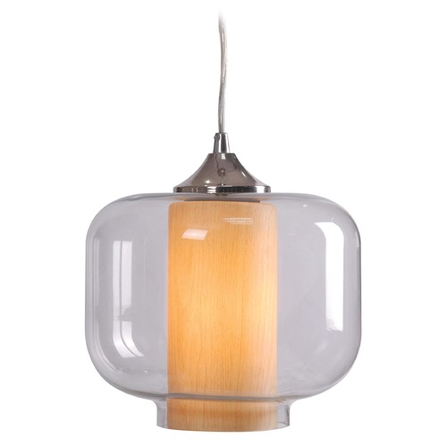 Kenroy Home Lighting Kenroy Home Lighting Zuno Chrome Mini-Pendant Light with Drum Shade 93020CLR